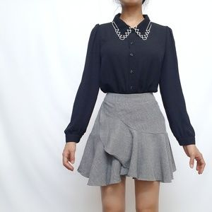 black elegant blouse with embroidered collars